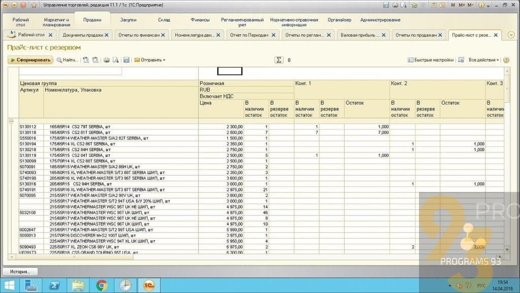 Настройка и внедрение системы 1С Управление торговлей 11.3 (разработка блока по ведению учету автомобильных Шин)